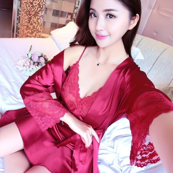 Cute silk small strap summer tracksuit pajamas (035-wine red color)