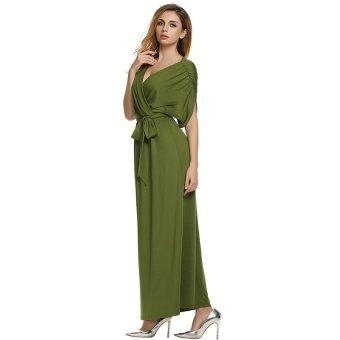 Cyber ANGVNS Sexy Women Batwing Sleeve Deep V Neck Solid Maxi Long Dress Party Evening Full Gown with Belt ( Green )