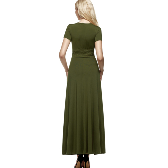 Cyber ANGVNS Women Designer Crossover Short Sleeve Wrap Chest TunicMaxi Full Gown Dress (Green) - intl - 2