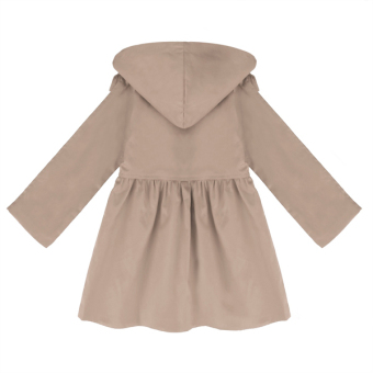 Cyber Arshiner Kids Girl Turn Down Neck Detachable Hat Single Button Pure Color Slim Cotton Trench Wind Coat Outwear(Khaki) - 2