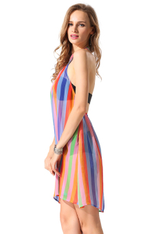 Cyber Finejo Women Backless Straps Rainbow Chiffon Dress ( Multicolor ) - picture 2