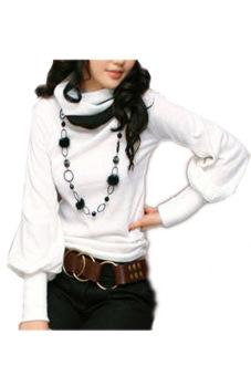 Cyber Ladies Women'S Lantern Sleeve Long Sleeve T-Shirts (White)