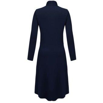 Cyber Meaneor Women Long Sleeve Open Front Solid Long CardiganCoat(navy blue) - 2