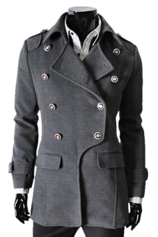 Cyber Men's Winter Style Double-breasted Woolen Blends Parka coat ( Grey ) - picture 2