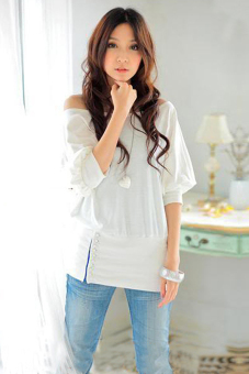 Cyber Sexy Women One Shoulder Long Sleeve T Shirt Blouse ( White )