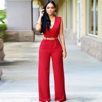 Cyber Sexy Women V-neck Sleeveless Casual Party Jumpsuit Romper Playsuit ( Red )