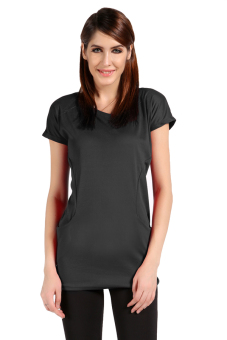 Cyber Short Sleeve Women Mini Casual Dress with Pocket ( Dark Gray ) - picture 2