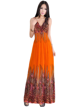 Cyber Summer V-neck Peacock Tail Printed Bohemian Maxi Dress(Orange)