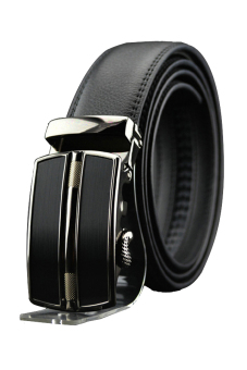 Cyber Synthetic Leather Men Business Belt Automatic Buckle ( Black )
