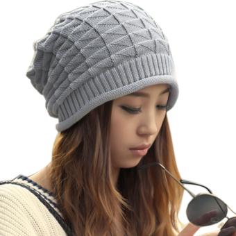 Cyber Unisex Wool Winter Crochet Knit Beanie Skull cap Hat(Gray)