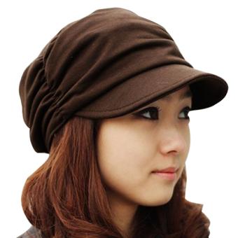 Cyber Unsex Women Pleated Peaked Cotton Sun Hat (Coffee)