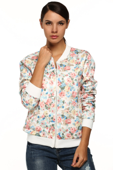 Cyber Women Casual Floral Zipper Closure Jacket (White) - picture 2