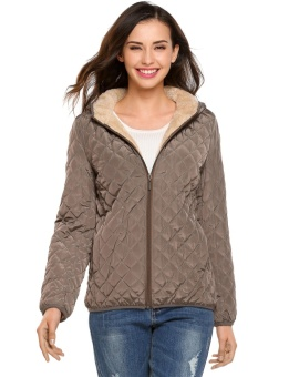 Cyber Women Hooded Light Weight Winter Down Jacket Short Slim Coat With Fleece Lining ( Camel ) - intl