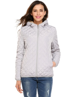 Cyber Women Hooded Light Weight Winter Down Jacket Short Slim Coat With Fleece Lining ( Grey ) - intl