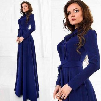 Cyber Women Long Sleeve Chiffon Maxi Long Elegant Dress (Dark Blue)