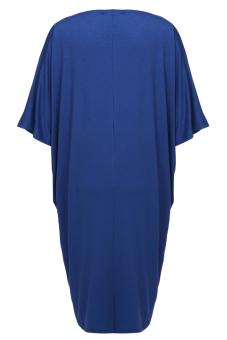 Cyber Women Loose Batwing 3/4 Sleeve Stretch Solid Mid Long Dress ( Blue ) - picture 2