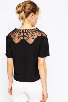 Cyber Women Net Yarn Patchwork Casual Blouse (Black) - picture 2