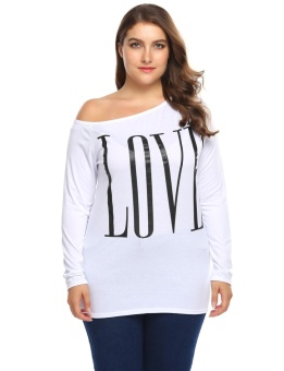 Cyber Women One Shoulder Long Sleeve Letter Print Casual T-Shirt Tops Plus Size ( White ) - intl