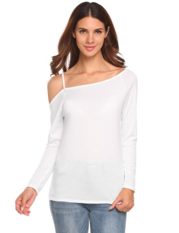 Cyber Women One Shoulder Long Sleeve Solid Casual T-Shirt Tops ( White ) - intl