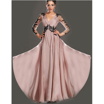Cyber Women Sexy Deep V Neck Lace 3/4 Sleeve High Waist Backless Full Gown Evening Dress (Multicolor) - Intl