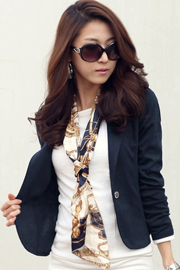 Cyber Women Slim Casual Short Blazer Suit Jacket Coat Outwear(Blue ...