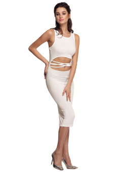 Cyber Women Waist Cutout Bodycon Casual Long Tank Dress (White) - picture 2