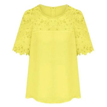 Cyber Women'S Lace Sleeve Splicing Chiffon Casual Shirt Tops Blouse (Yellow) - 2