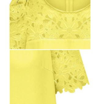 Cyber Women'S Lace Sleeve Splicing Chiffon Casual Shirt Tops Blouse (Yellow) - 3