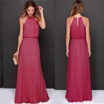 Cyber Women's Sexy O-neck Sleeveless Back Hollow Out Long Dress ( Rose Red )