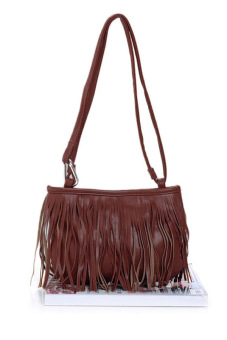 Cyber Women's Girl Tassel Cross-body Handbag Shoulder Bag (Brown)