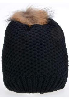 Cyber Women's Hat Stylish Knit Faux Fur Warm Cap Hats ( Black )