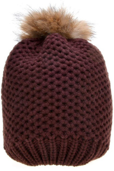Cyber Women's Hat Stylish Knit Faux Fur Warm Cap Hats ( Brown ) - picture 2