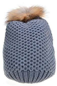 Cyber Women's Hat Stylish Knit Faux Fur Warm Cap Hats ( Grey )
