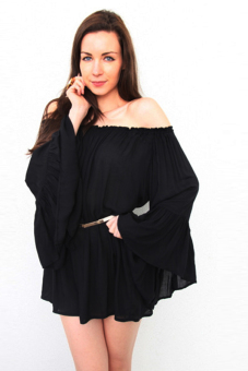 Cyber Women's Off-shoulder Chiffon Sexy Bandage Mini Dresses ( Black )