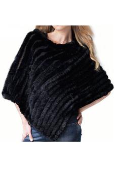Cyber Women's Soft Knitted Genuine Fur Poncho Jacket Coats (Black)