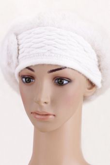Cyber Women'S Winter Warm Knitted Real Fur Hats Beanie Cap (White) - picture 2