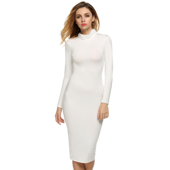 Cyber Zeagoo Women Sexy Turtle Neck Long Sleeve Bodycon StretchDress (White)