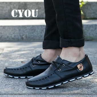 CYOU Men's Casual Shoes Moccasins Leather Boat Shoes Men Formal Shoes Kasut Lelaki (Black) - intl