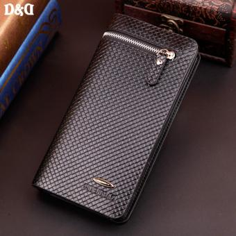D&D PDB3393 Leather Men Wallet Zipper Hasp Long Purse FashionPortfolio PU Card Holder Clamp Money Clutch Bags