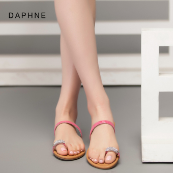 Daphne casual slip flat female sandals and slippers (Pink color 113)