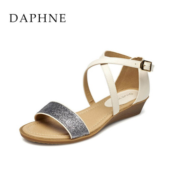 Daphne semi-high heeled casual sandals spring and summer women's shoes (White 101)