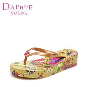 Daphne sweet semi-high heeled girl's sandals slippers (Gold 120)