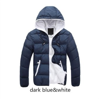 dark blue white Men Down Jacket Splice NEW Arrived Autumn Winter Down Jacket Hooded Winter Jacket for Men Fashion Mens Joint Outerwear Coat Plus Size - intl