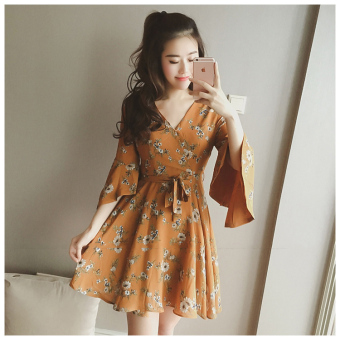 Debutante indie Female Summer New style A-line dress Dress (Ginger yellow Suihua)