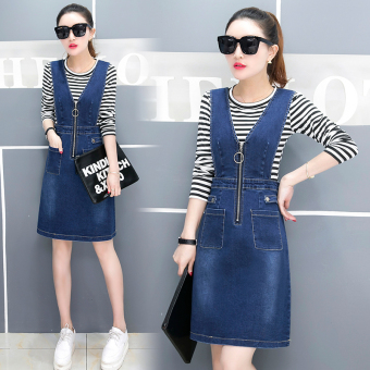 Denim autumn and dress New style shoulder strap dress (Striped t suit)