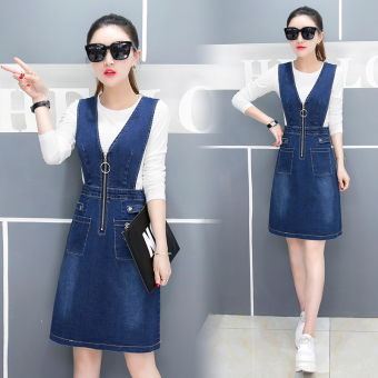 Denim autumn and dress New style shoulder strap dress (White T suit)