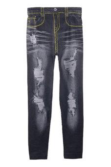 Denim Skinny Leggings Women Pants (Black)