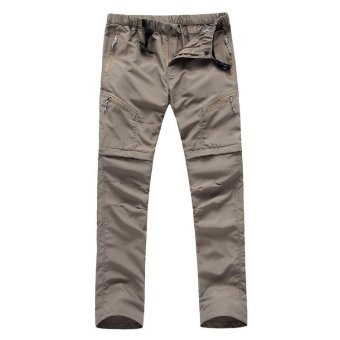 Detachable Men Outdoor Sports Hiking Mountain Cargo Pant Quick DrySummer Trekking Camping Climbing Pants Trousers - khaki - intl