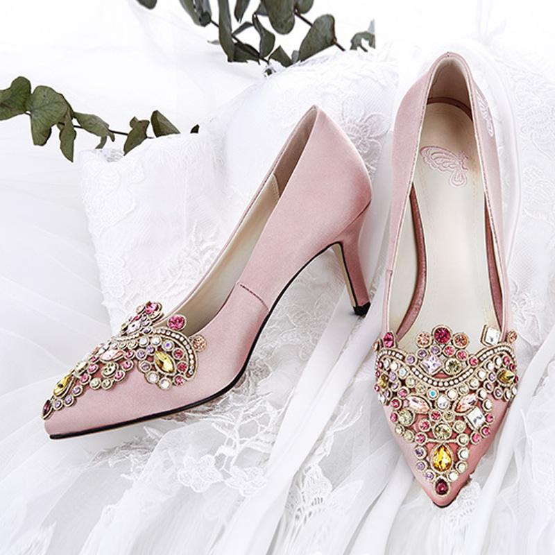 Diamond Wedding Plus Sized Fine With Bridal Shoes Wedding Shoes (Champagne  Color Cm 5cm
