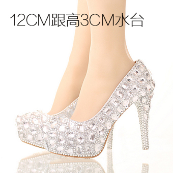 Diamond White wedding photo fine with female shoes crystal shoes (12cm with high 3cm water table)